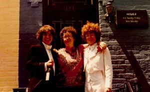 Celebrating Lammas's anniversary, ca. 1984. From left: owner-manager Mary Farmer, yours truly, and Tina Lunson, printer.