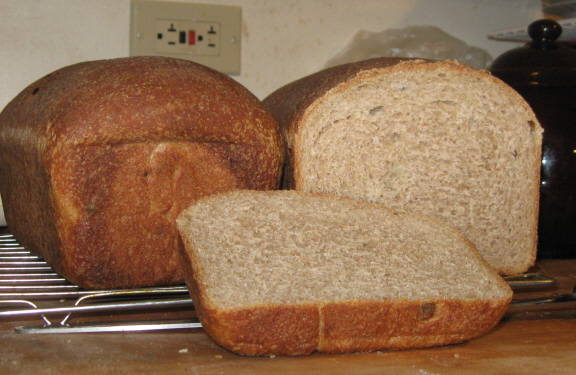 The loaf on the left is now frozen. The crust in front is history.