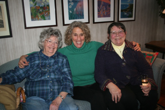 Shirley (left), Nancy Aronie, and Arlene Bodge at Cynthia Riggs's bridal shower, February 2013