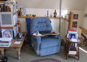 My #1 workspace, aka the blue chair