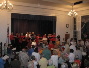 Choirs and audience during the finale of Saturday night's concert. Think about how all those people got there and back!