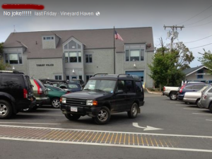 Bad parking at the VH Stop & Shop. (That's the police station in the background, btw.)