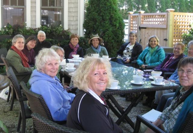 At the outdoor café, Edgartown Books