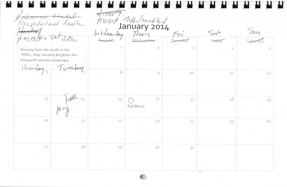 January calendar, annotated