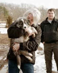 Sharon with puppy Joe Pye, Crow Hollow Farm, winter 2001/2002