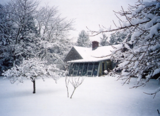 The house where Shirley lived for 55 years, and where the potluck was held the other night. This photo was taken after the blizzard of 2003. The house looks a lot like that right now.