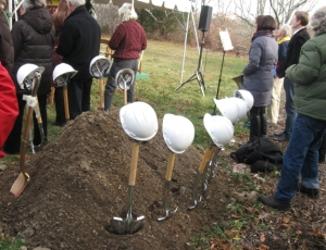 Ceremonial hardhats at the groundbreaking party, December 2012.