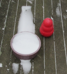 Kong stands guard over snowy disk.