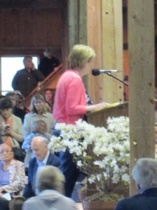 Selectman Cindy Mitchell spoke for the town.