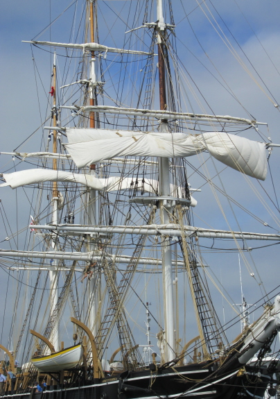 Fore and main topsails ready to be unfurled