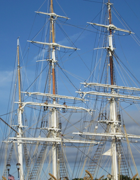 The three-masted Morgan is a bark, meaning that the fore and main masts are square-rigged and the mizzen mast is rigged fore-and-aft.