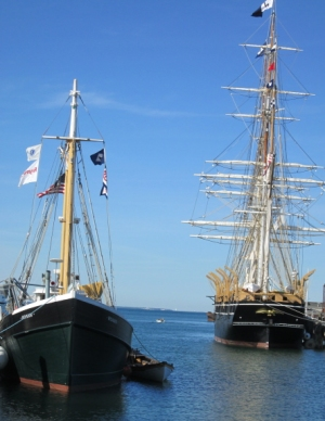 The Roann (left) and the Charles W. Morgan in Vineyard Haven harbor