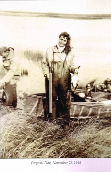 Shirley in the duck blind on the morning Johnny proposed, November 29, 1946.