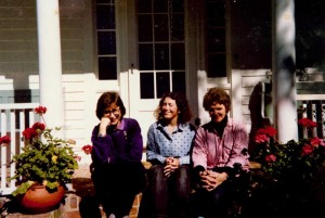 From left: Ann Dunkley, me, and Maggie MacCarty, ca. 1990, on the front steps of the Lambert's Cove Inn. Ann was the office manager. She pinch-hit as a chambermaid as needed. Maggie doubled as a waitress. I was just a chambermaid, but I was pretty good at laundry.