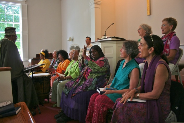 From the Spirituals Choir's 2013 appearance at the West Tisbury church. Soloist Elizabeth Lyra Ross is in yellow at the far left. This year she wore blue. Photo by Lynn Christoffers.