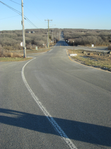 The road down-island. Aquinnah is as far up-island as you can get.