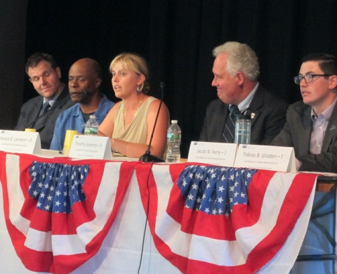 Candidates for the house seat in the Barnstable, Dukes, and Nantucket district, from left: Democrats Michael Heylin, Ewell Hopkins, Jessica Lambert, and Timothy Soverino, and Independent Jacob Ferry. Offstage left is Democrat Dylan Fernandes; offstage right is Independent Tobias Glidden. I told you the stage was crowded, didn't I?