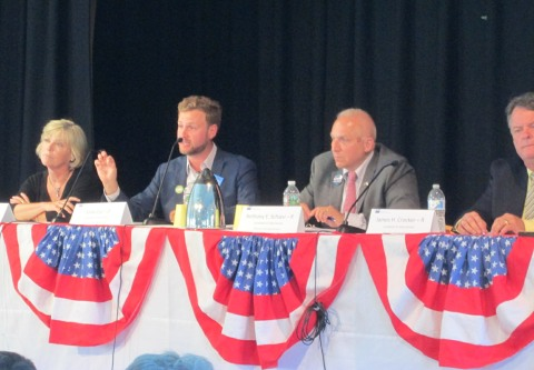 State senate candidates, from left: Democrats Sheila Lyons and Julian Cyr and Republicans Antony Schiavi and James Crocker.