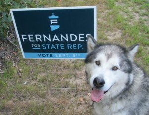 Trav poses with our Fernandes yard sign