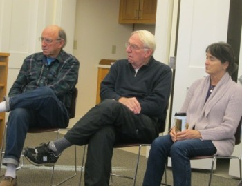 From left: Chilmark selectman Warren Doty, West Tisbury selectman Richard Knabel, and Joan Malkin, Chilmark planning board member.