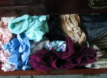 From left to right: undies, bras, socks.