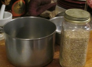 jar of rice next to saucepan